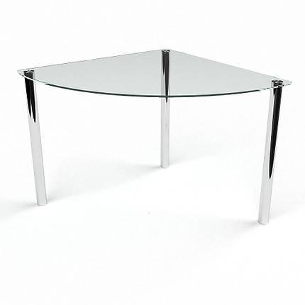 Стол БЦ Сектор прозрачный кухонный обеденный трехугольный стеклянный нераскладной, фото 2
