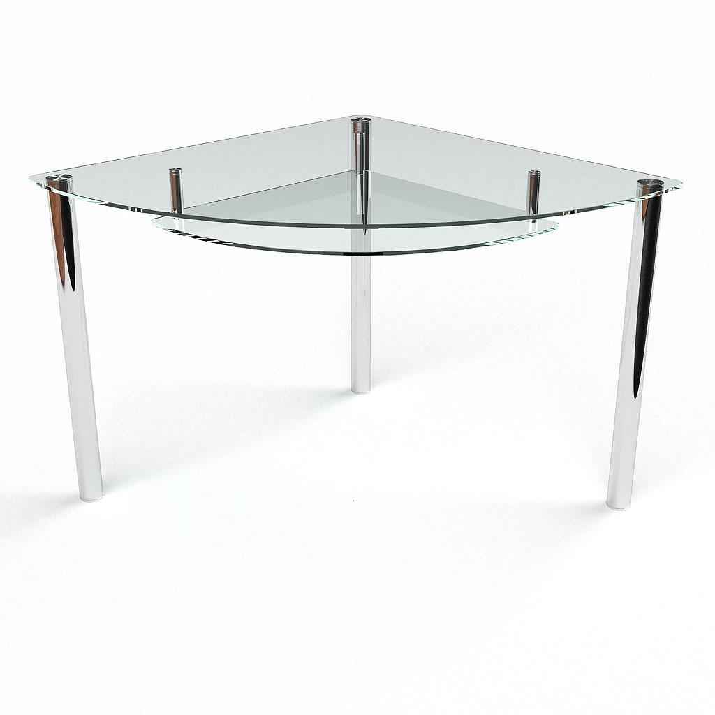 Стол БЦ Сектор прозрачный с полкой кухонный обеденный трехугольный стеклянный нераскладной