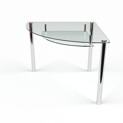 Стол БЦ Сектор прозрачный с полкой кухонный обеденный трехугольный стеклянный нераскладной, фото 2