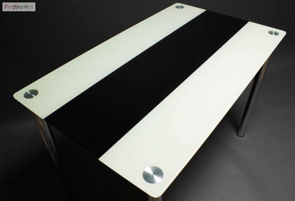 Стол БЦ Вектор черно-белый кухонный обеденный прямоугольный стеклянный нераскладной