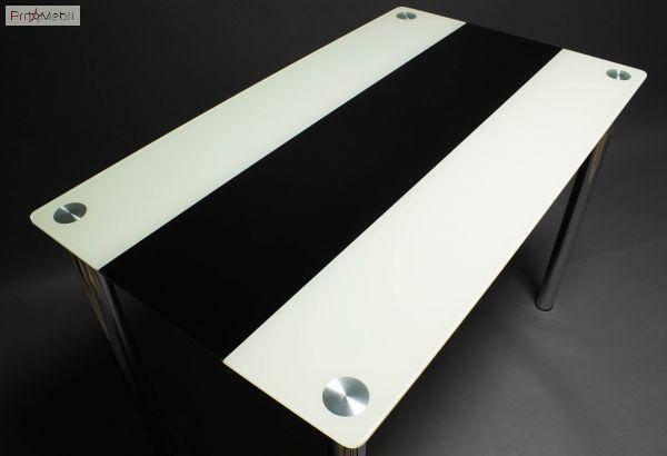 Стол БЦ Вектор черно-белый кухонный обеденный прямоугольный стеклянный нераскладной, фото 2