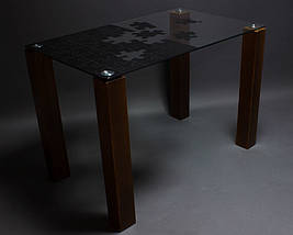 Стол БЦ Пазл кухонный обеденный прямоугольный стеклянный нераскладной, фото 3