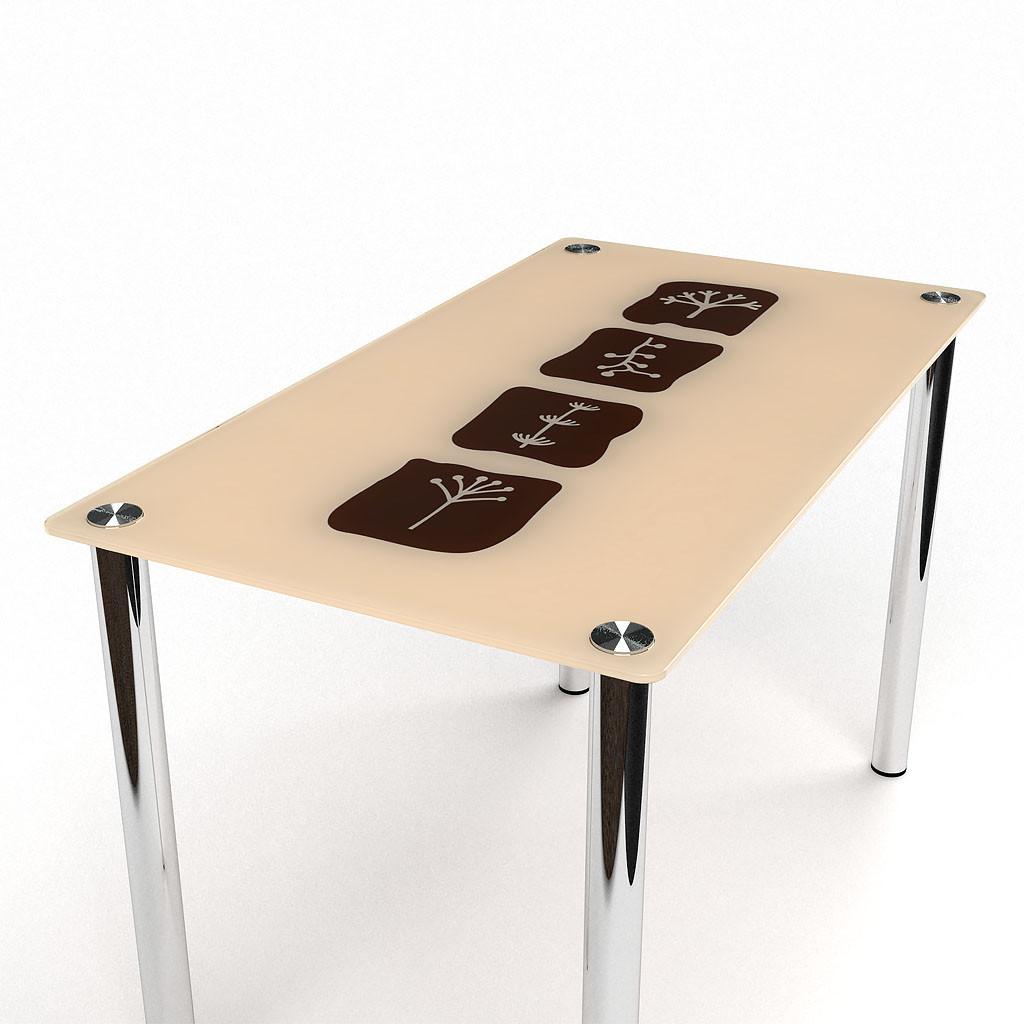 Стол БЦ Полевой кухонный обеденный прямоугольный стеклянный нераскладной