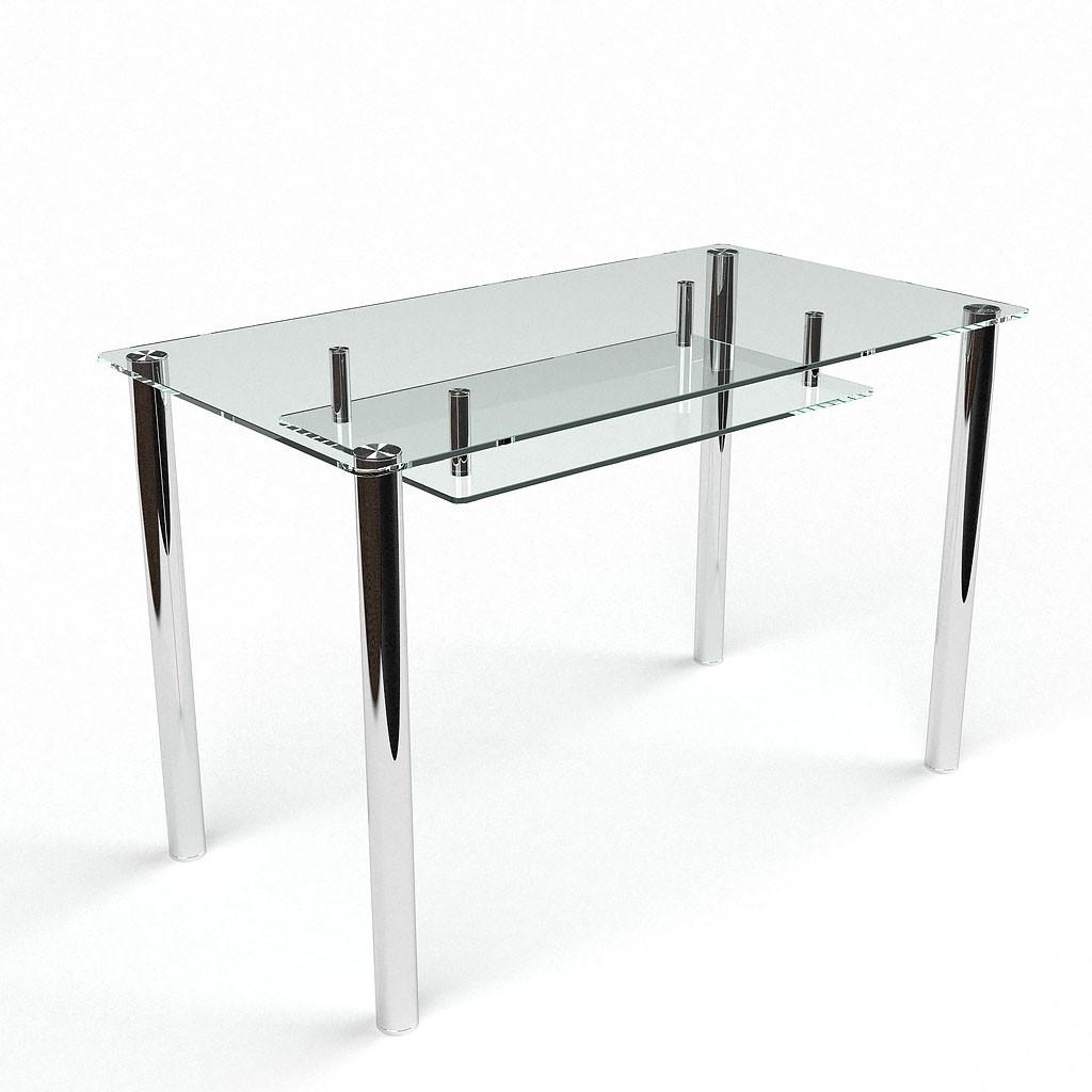 Стол БЦ Прозрачный с полкой кухонный обеденный прямоугольный стеклянный нераскладной