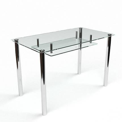 Стол БЦ Прозрачный с полкой кухонный обеденный прямоугольный стеклянный нераскладной, фото 2