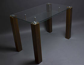 Стол БЦ Прозрачный с полкой кухонный обеденный прямоугольный стеклянный нераскладной, фото 3