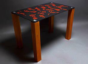 Стол БЦ С любовью кухонный обеденный прямоугольный стеклянный нераскладной, фото 2