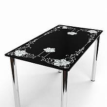 Стол БЦ Цветок кухонный обеденный прямоугольный стеклянный нераскладной
