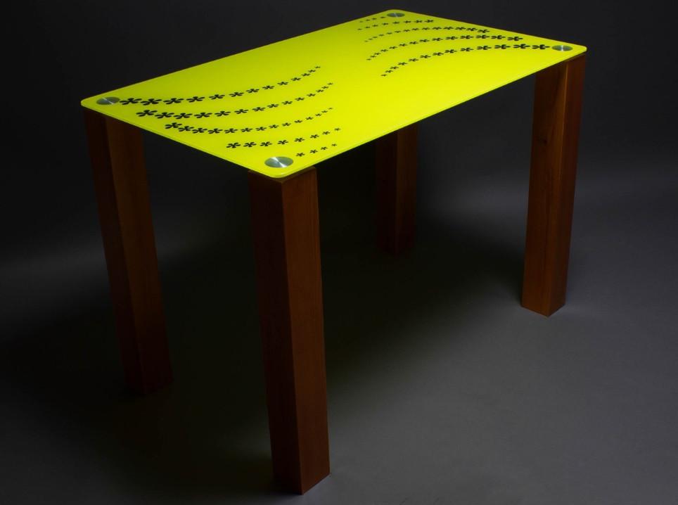 Стол БЦ Цветочная волна кухонный обеденный прямоугольный стеклянный нераскладной