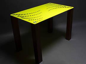Стол БЦ Цветочная волна кухонный обеденный прямоугольный стеклянный нераскладной, фото 2