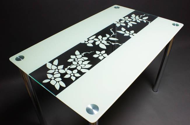 Стол БЦ Цветы рая кухонный обеденный прямоугольный стеклянный нераскладной, фото 2