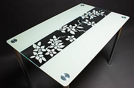 Стол БЦ Цветы рая кухонный обеденный прямоугольный стеклянный нераскладной