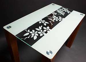 Стол БЦ Цветы рая кухонный обеденный прямоугольный стеклянный нераскладной, фото 3