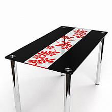 Стол БЦ Цветы рая красно-черный кухонный обеденный прямоугольный стеклянный нераскладной