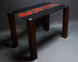 Стол БЦ Цветы рая красно-черный кухонный обеденный прямоугольный стеклянный нераскладной, фото 2