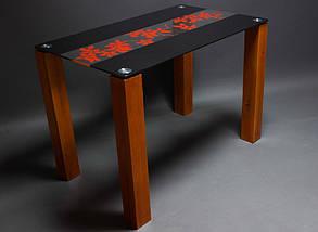 Стол БЦ Цветы рая красно-черный кухонный обеденный прямоугольный стеклянный нераскладной, фото 3