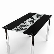 Стол БЦ Цветы рая черно-белый кухонный обеденный прямоугольный стеклянный нераскладной