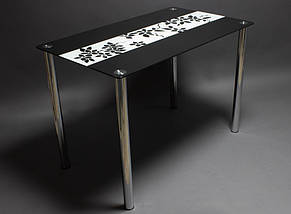 Стол БЦ Цветы рая черно-белый кухонный обеденный прямоугольный стеклянный нераскладной, фото 3