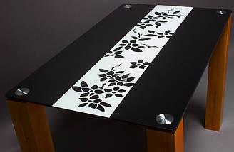 Стол БЦ Цветы рая черно-белый кухонный обеденный прямоугольный стеклянный нераскладной, фото 2