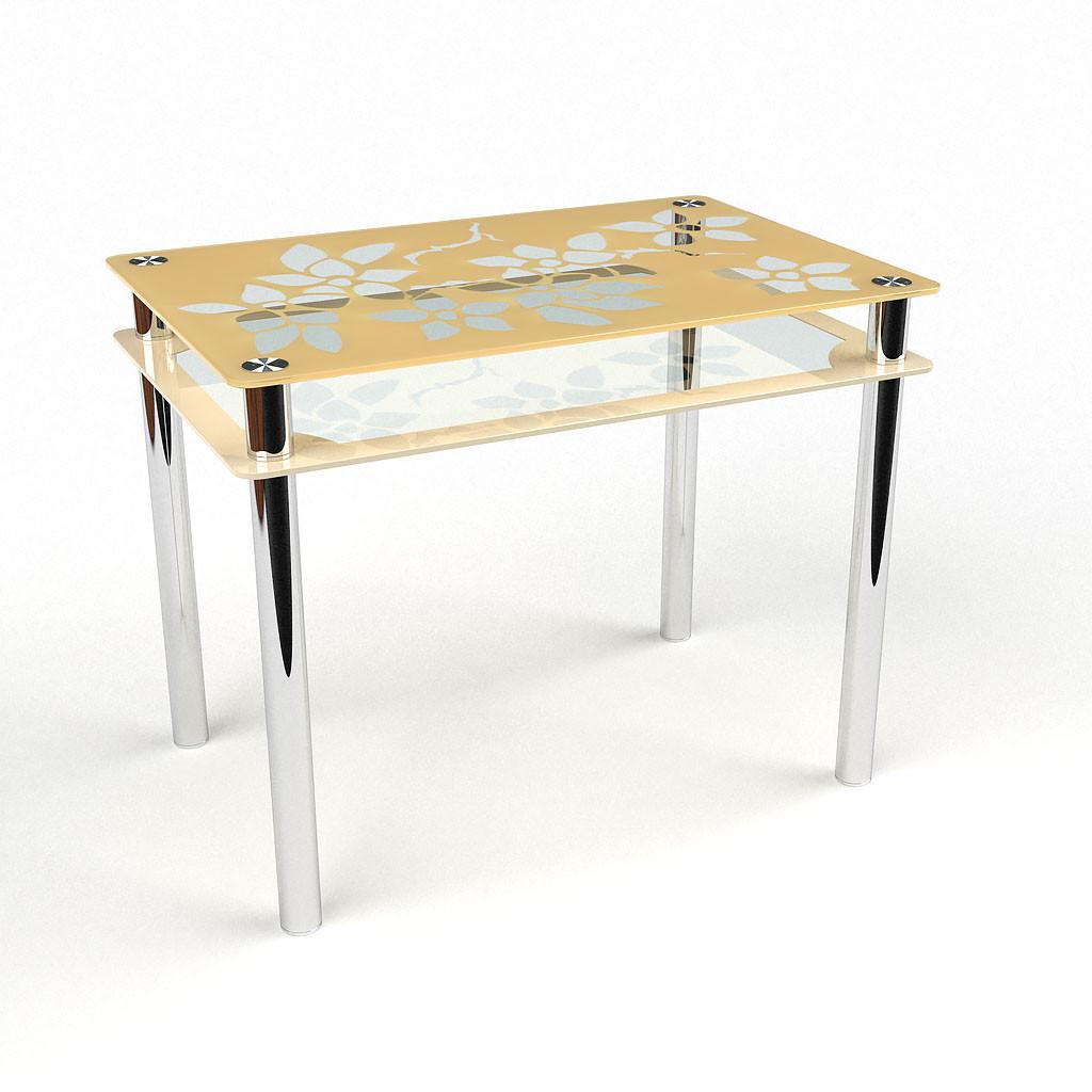 Стол БЦ Цветы-Рамка кухонный обеденный прямоугольный стеклянный нераскладной