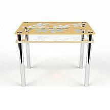 Стол БЦ Цветы-Рамка кухонный обеденный прямоугольный стеклянный нераскладной, фото 2