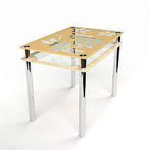 Стол БЦ Цветы-Рамка кухонный обеденный прямоугольный стеклянный нераскладной, фото 3