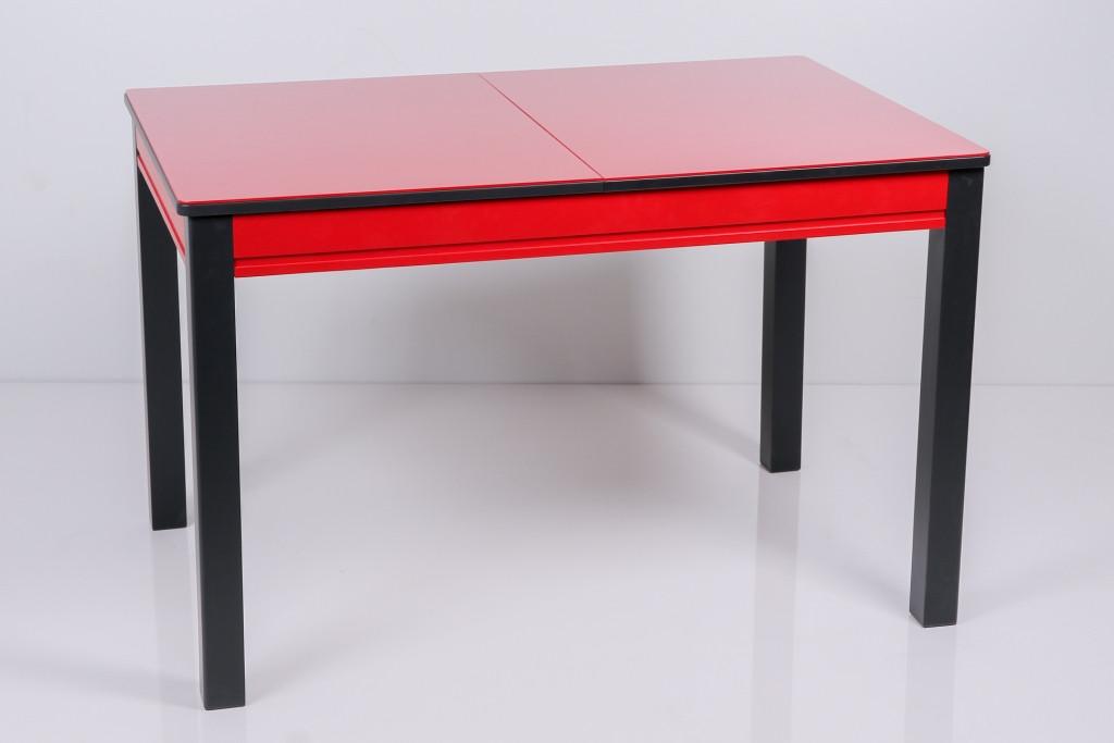 Стол Биформер Сан Ремо 8 RAL 1586 красный + RAL 9004 чёрный кухонный обеденный прямоугольный раскладной