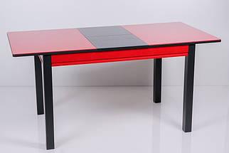 Стол Биформер Сан Ремо 8 RAL 1586 красный + RAL 9004 чёрный кухонный обеденный прямоугольный раскладной, фото 3