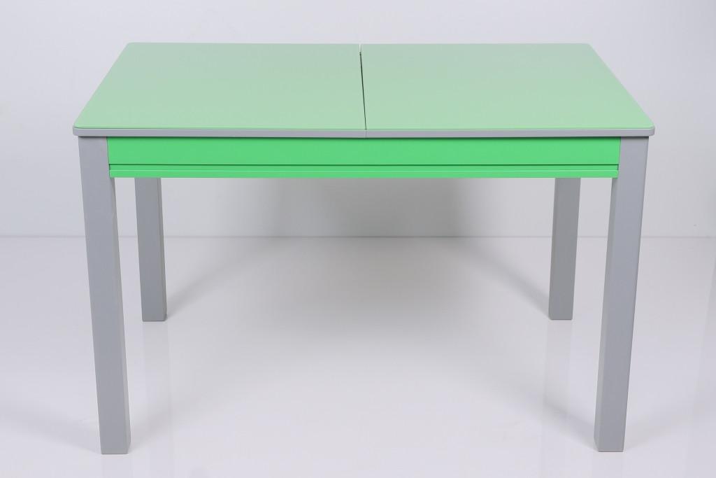 Стол Биформер Сан Ремо 10 RAL 1164 зеленый яркий + RAL 7023 бетон серый кухонный обеденный прямоугольный раскладной