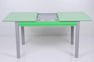 Стол Биформер Сан Ремо 10 RAL 1164 зеленый яркий + RAL 7023 бетон серый кухонный обеденный прямоугольный раскладной, фото 3