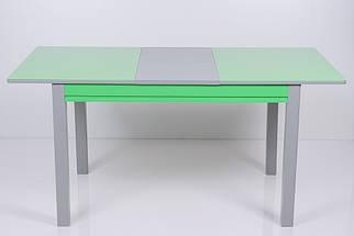 Стол Биформер Сан Ремо 10 RAL 1164 зеленый яркий + RAL 7023 бетон серый кухонный обеденный прямоугольный раскладной, фото 2