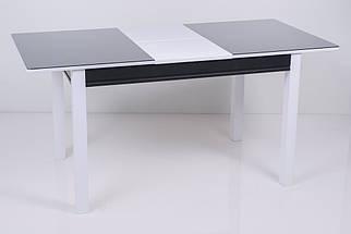 Стол Биформер Сан Ремо Мини 3 RAL 9005 чёрный + RAL 9003 белый кухонный обеденный прямоугольный раскладной, фото 3