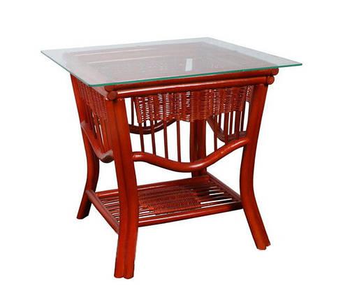 Стол ЧФЛИ Нью Йорк 1 кухонный обеденный квадратный плетеный из ротанга со стеклом нераскладной, фото 2