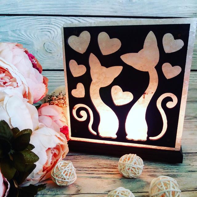 Соляная лампа «Влюбленные коты» 3-4 кг.