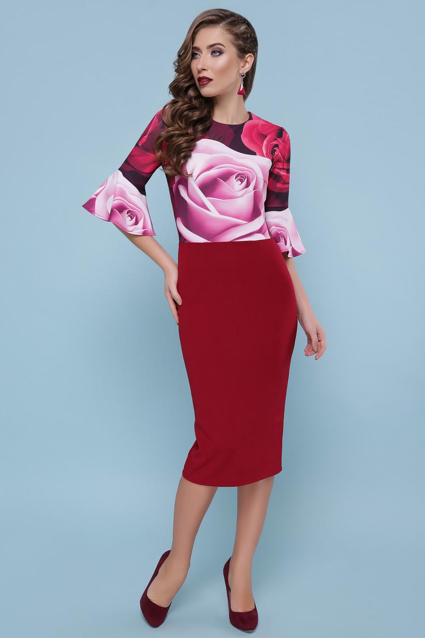 Красивое коктейльное платье с розами 44-50рр.