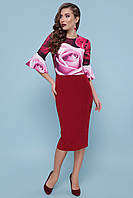 Красивое коктейльное платье с розами 44-50рр., фото 1