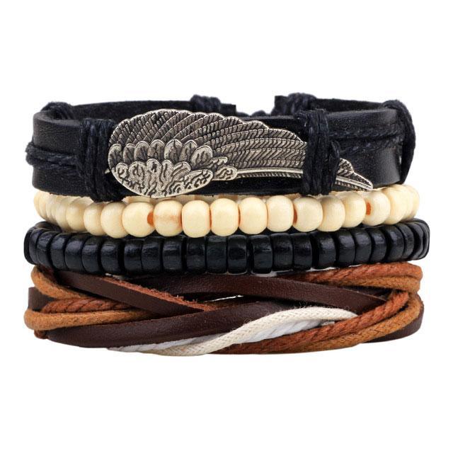 Комплект браслетів - Крило (Чорний)