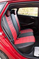 Чехлы на сиденья ЗАЗ Вида (ZAZ Vida) (универсальные, кожзам, с отдельным подголовником) черно-красный