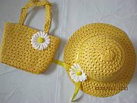 Летняя шляпа и сумочка для девочки оптом Желтый