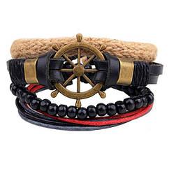 Комплект браслетів - Штурвал (Чорний з мідним)