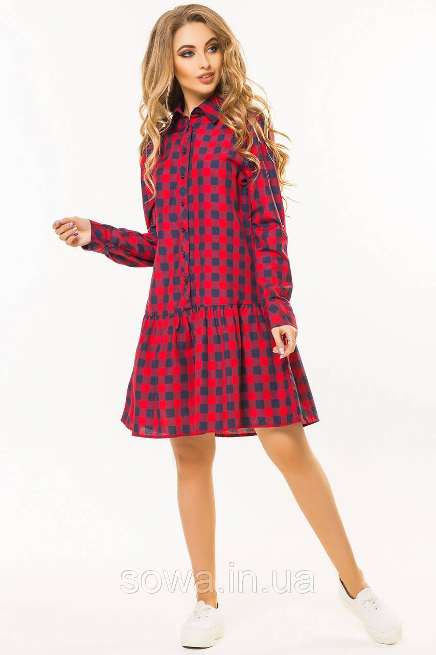 ✔️ Платье с оборкой по низу в красную клетку