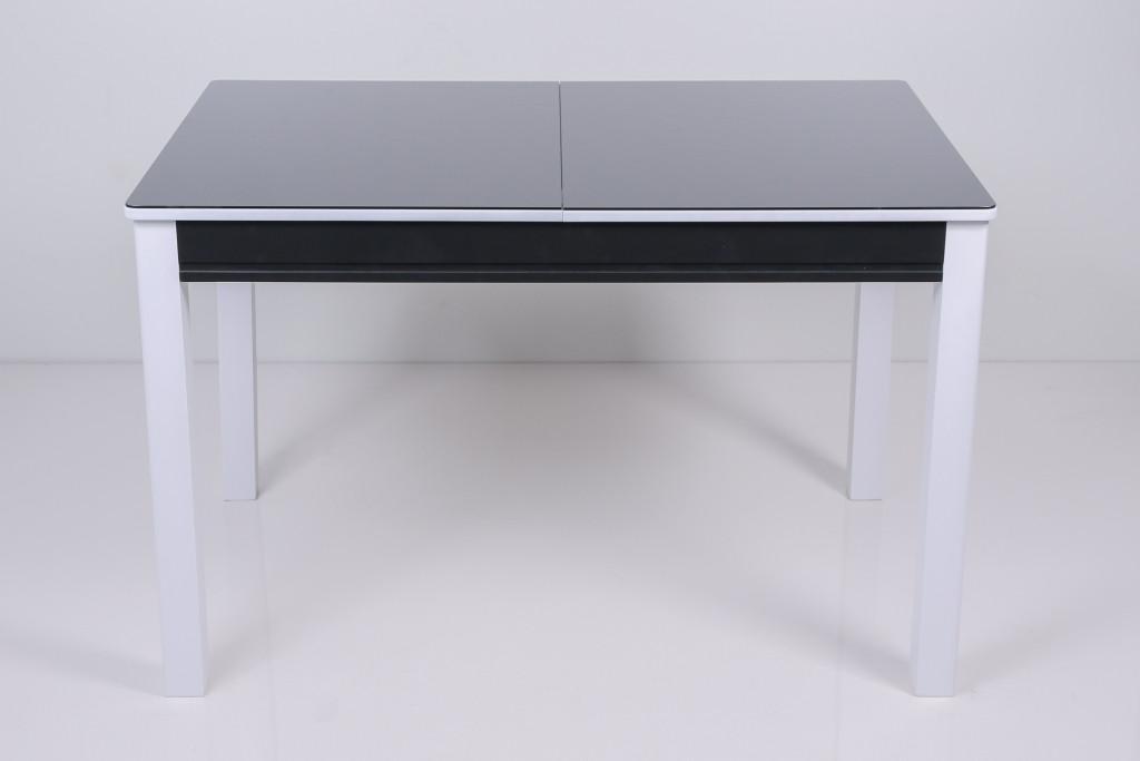 Стол Биформер Сан Ремо 3 RAL 9005 чёрный + RAL 9003 белый кухонный обеденный прямоугольный раскладной