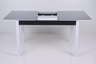Стол Биформер Сан Ремо 3 RAL 9005 чёрный + RAL 9003 белый кухонный обеденный прямоугольный раскладной, фото 2