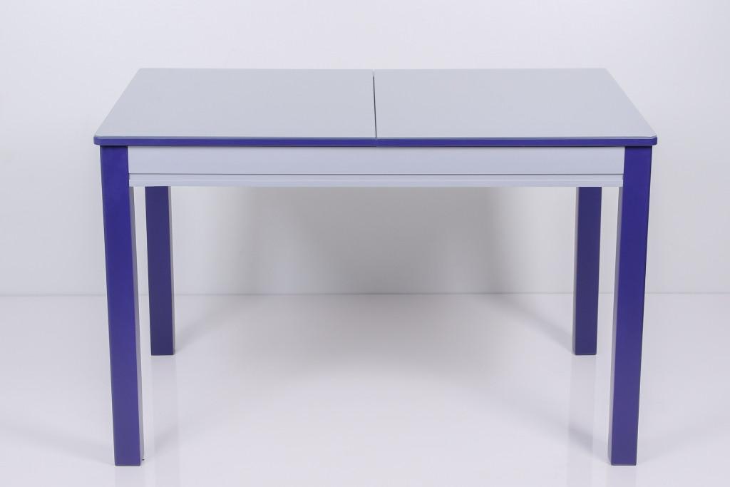 Стол Биформер Сан Ремо 6 RAL 9006 серый металик + RAL 5022 ночной синий кухонный обеденный прямоугольный раскладной