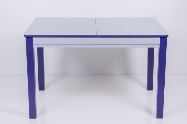 Стол Биформер Сан Ремо 6 RAL 9006 серый металик + RAL 5022 ночной синий кухонный обеденный прямоугольный раскладной, фото 2