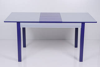 Стол Биформер Сан Ремо 6 RAL 9006 серый металик + RAL 5022 ночной синий кухонный обеденный прямоугольный раскладной, фото 3