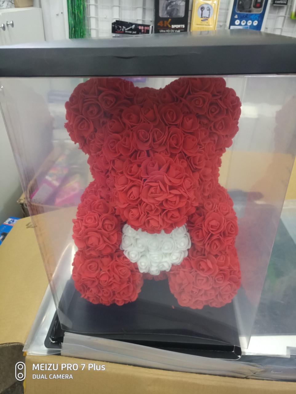 Мишко з троянд 40см+коробка подарунок дівчині на 14 лютого і 8 березня оригінальний подарунок