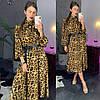 Женское платье с модным принтом и поясом в расцветках. ЛД-5-0219, фото 4