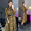 Жіноче плаття з модним принтом і поясом в кольорах. ЛД-5-0219, фото 5