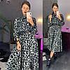 Женское платье с модным принтом и поясом в расцветках. ЛД-5-0219, фото 6